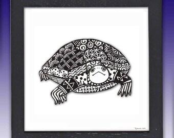 Turtle Art Print, Framed