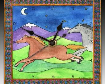 Wild Horses Clock