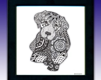 Dog Art, Pen & Ink print, Framed