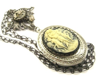 3 Graces  Cameo Necklace ... Steampunk Cameo Goddess One of a Kind Creation