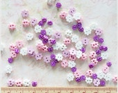 100 pcs 4-6 mm Tiny Flower Flat Buttons Mixed Color Purple Tone For Doll / Scrapbooking Supply