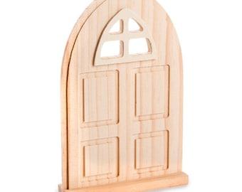 MINATURE Fairy Garden UNFINISHED Wooden door set of 2  Plain & with window