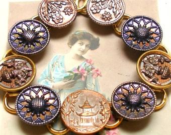 "PAGODA BUTTON bracelet, Antique Victorian Flowers in purple & copper, 7.5"" Button jewellery."