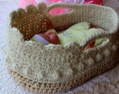 Crochet Moses Basket - Doll Carrier - Crochet Pattern - 12-16 inch doll - Crochet Basket