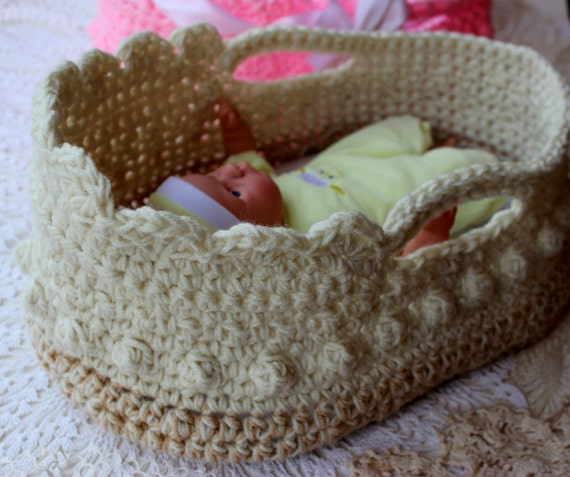Knitting Pattern For Dolls Moses Basket : Crochet Moses Basket - Doll Carrier Crochet Pattern - 12 ...