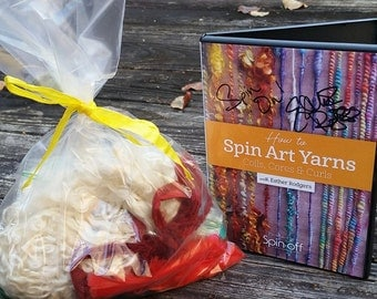 Art Batt Spinning Fiber- How to Spin Art Yarn DVD and Add In Kit. Signed by Author! Perfect GIft for your Favorite Spinner