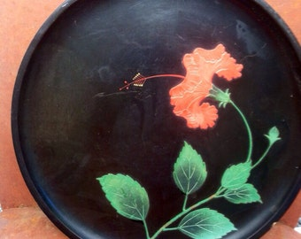 Vintage 1960s Black Plate or Tray with Red Flower by Benbo Okinawa  epsteam Sale