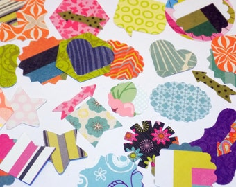 50 SMALL Paper Die Cuts for DIY Embellishments Various Shapes Paper Punches Bright Prints