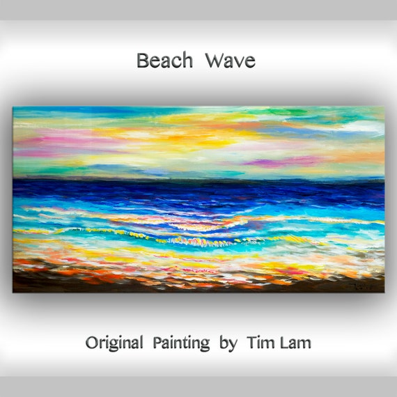 "Abstract art, sea art, Sunrise Impress occean wave, canvas art, arylic painting, large landscape painting,  48"" gallery art"