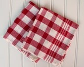 Vintage Kitchen Towels - Red and Natural Check - Set of 2 - New Old Stock- Unused