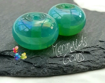 Lampwork Spacer Beads Mermaid's Tears Pair