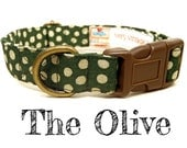 "Olive Green Cream White Vintage Polka Dot Dog Collar -  Organic Cotton - Antique Brass Hardware - ""The Olive"""