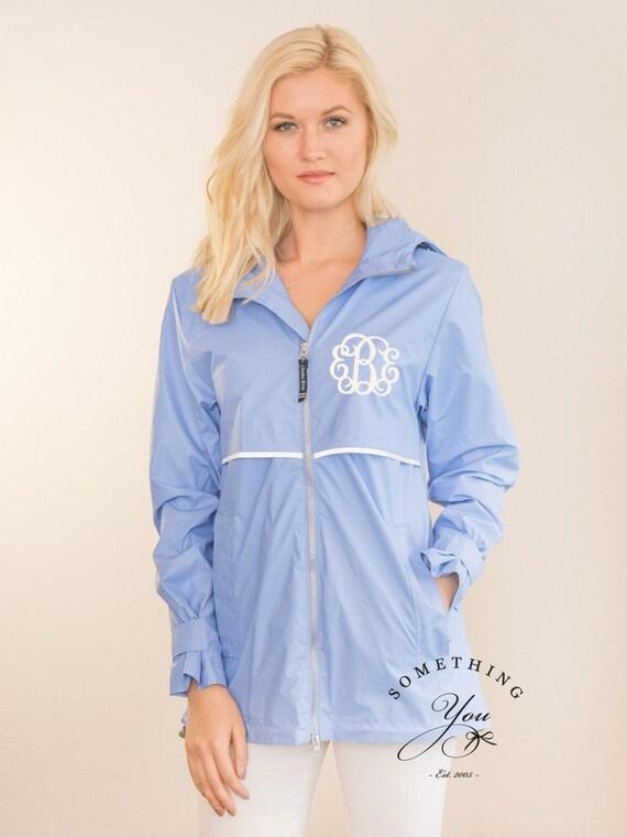Periwinkle Monogrammed Rain Coat Jacket Personalized