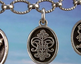 PETITE MEDAL - VOODOO - Erzulie Freda Veve Charm Pendant in Sterling Silver, Bronze, 14K Gold