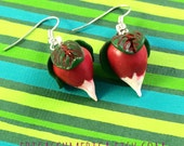 Radish Earrings. Dirigible Plums.