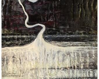 Night Flight, Encaustic Abstract Painting on Birch Wood Panel