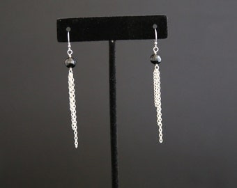 Black Onyx and Sterling Silver Chain Earrings