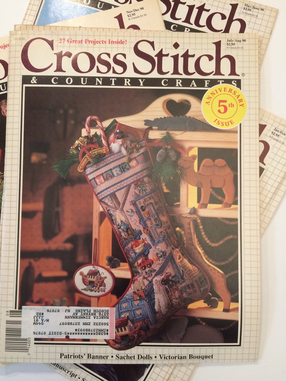 Cross stitch country crafts magazine back issues - Cross Stitch And Country Crafts Magazines 1990 Complete Year 6 Issues Sold By Lagunalane 20 00