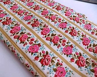 Vintage Cotton Waverly Rose Floral Flower Fabric Yardage 5 yards