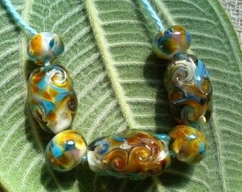 lampwork beads/glass beads/sra lampwork/windy day/fall/leaves/