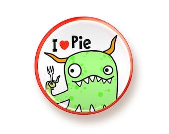 I heart Pie - round magnet