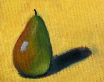 Miniature Oil Painting, Original 3x3 Canvas Still Life, Pear Fruit, Green Yellow, Brown, Shadow, Small Kitchen Decor, Tiny Art, Minimalist