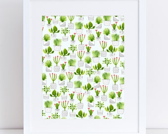 Little Plants – A4 Fine Art Print - Cactus, Succulents, house plants