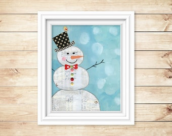 Snowman Art print. Whimsical Christmas art. Christmas print. Christmas decor. Original Art Print. Holiday print Colorful winter decor