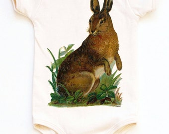 Organic Rabbit One Piece, Rabbit in Grass, Baby Infant Bodysuit, Easter Shirt, baby layette, infant, 3m, 6m, 12m, 18m