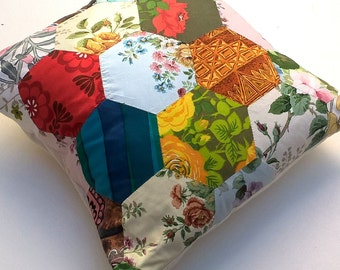 Hand Sewn Vintage Hexagon Patchwork Cushion / Pillow - Large