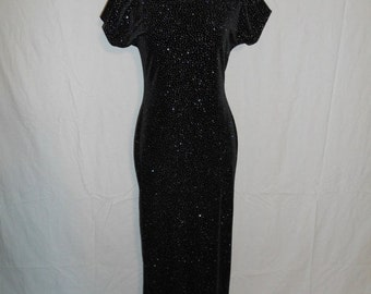 Vintage 90s  black velvet maxi dress, stretchy, sparkly, long dress, grunge, punk, fitted, shiny, Jump