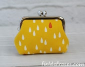 Small Frame Coin Purse Modern Raindrop Yellow Rosary Case Earbud Case Earbud Holder Clasp Change Purse