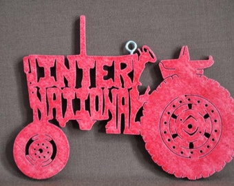 Vintage Red International Tractor Decoration Ornament Scroll Saw Wood Cut Out