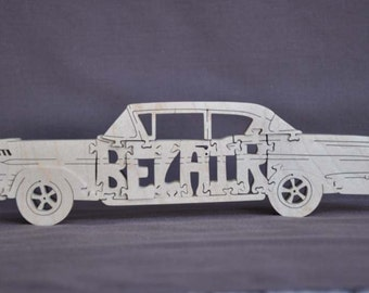 Vintage Chevy Bel Air Car Toy Wooden Hand Cut Puzzle