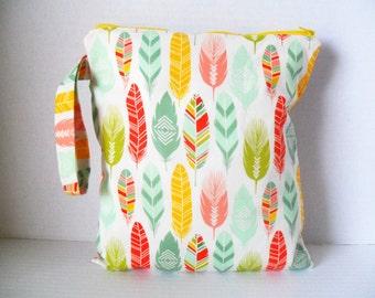Wet Bag - Feather Fabric - Feather Wet Bag - Zipper Closure - Diaper Bag - Wetbag - Cloth Diapers - Waterproof Diaper Bag