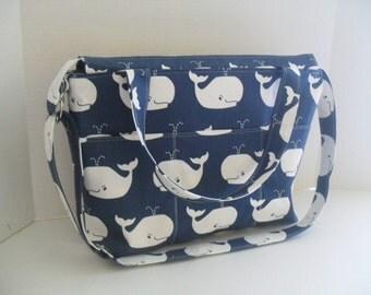 Large Diaper Bag - Navy Blue Whale - Messenger - Diaper Bag - Navy Blue