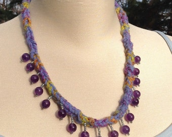 Purple Amethyst Bead Lucet Braid Necklace