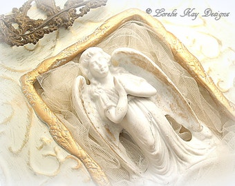 Mixed Media Praying Angel Picture Hanging Angel Art Wall Shabby Decor Decoration Lorelie Kay  Original