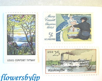 Vintage Nautical Postage Stamps, Water Scenes, Tiffany Glass Stamp, Cassatt Painting, Ships, Mail 20 Wedding Invitations 68 cent postage art