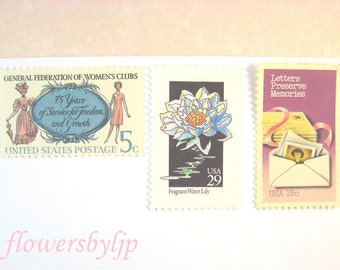 Postage Stamps Vintage, Wildflower Stamp Pink Blue, Womens Clubs, Victorian & 1960s Lady, Mail 10 Letters, Cards, RSVPs, 47 cents stamps