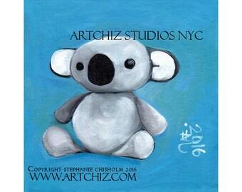Baby Koala Art.  Art Print. Cute Baby Koala Bear. Amazing Baby Shower Gift.  Illustration Koala. Art Print