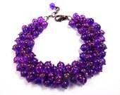Purple Charm Bracelet, Wire Wrapped Glass Beads, Gunmetal Silver Cha Cha Style Bracelet, FREE Shipping U.S.