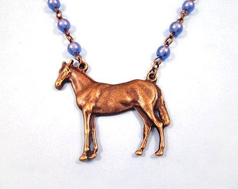 Horse Necklace, Periwinkle Blue Beaded Chain, Brass Pendant Necklace, FREE Shipping U.S.