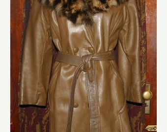 50% Off SALE Vintage 1960's Leather Racoon Fur Collar Coat Small