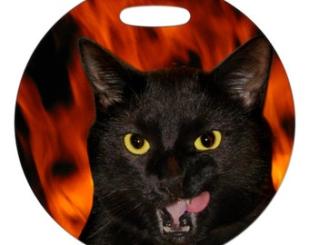 Luggage Tag - Hell Cat Photo - 2.5 inch or 4 Inch Round Large Plastic Bag Tag