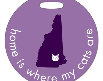 Luggage Tag - Home Is Where My Cats Are - Round Plastic Bag Tag - Custom State or Country