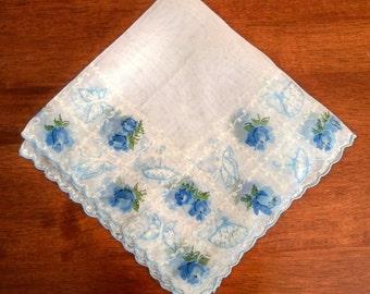 Vintage Nylon Handkerchief - Butterflies Roses Parasols Fans