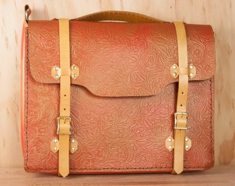 Handmade Leather Briefcase - For Men or Women - Tooled Western style floral leather in red and gold