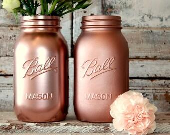 Rose gold Ball jar, 6 rose Gold painted mason ball jars wedding centerpieces, vases, matte or shiny rose gold glass jar, bar display