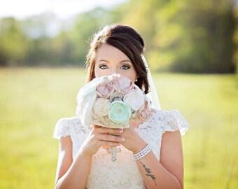 Mint wedding bouquet, bridal bouquet, pastel mint fabric flower and sola flower bouquet, vintage sheet music, keepsake wedding bouquet